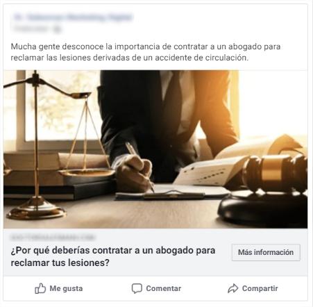anuncio de facebook para generar clientes de abogacía